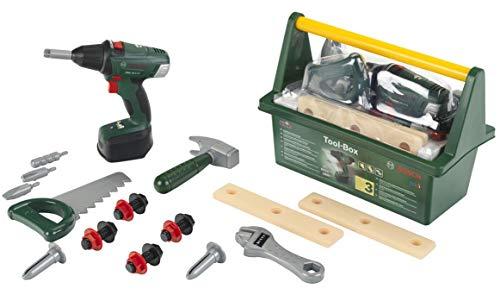 Theo Klein 8520 Bosch Werkzeug-Box I Mit Hammer, Säge, Rollgabelschlüssel und vielem mehr I Inkl....