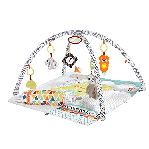 Fisher-Price GKD45 - 5 Sinnes Baby Spieldecke kuschelig weiche Krabbeldecke mit Sensorik Spielzeug,...