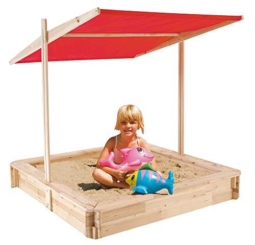 TrendLine Holz-Sandkasten mit Dach 120x120x17,5 cm Sandkiste Sandbox Kinder