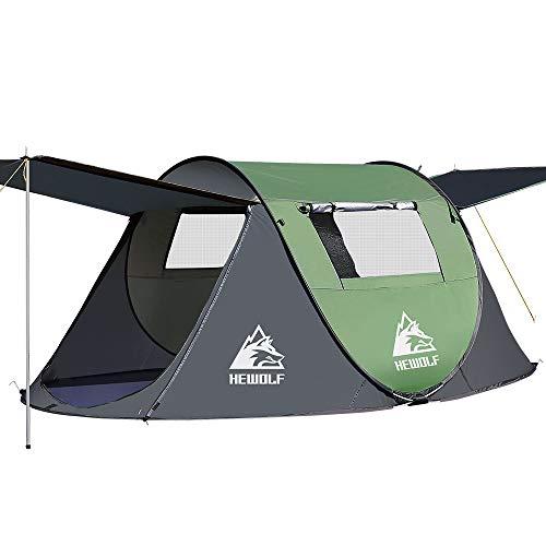 HEWOLF Wurfzelt 2-3 Personen Pop Up Camping Zelt mit Vorzelt Automatik Ultraleichtes Familienzelt...