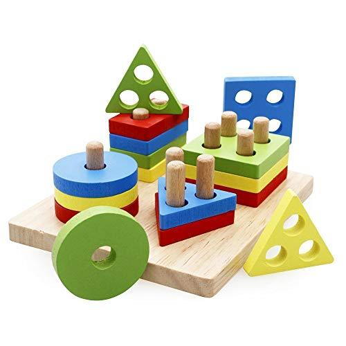 Lewo Holzpuzzles Geometrisches Stapel-Steckspiel