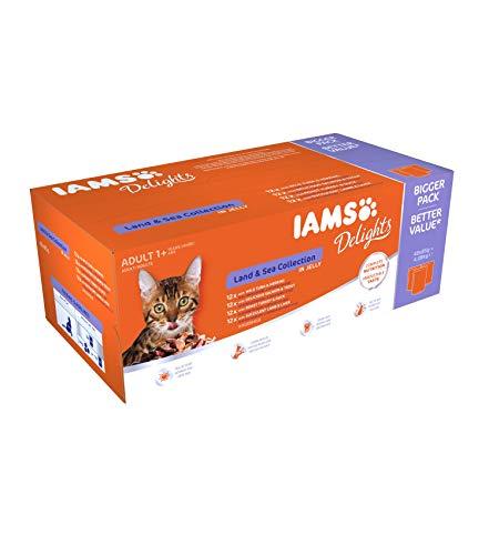 Iams Delights Land & Sea Collection Katzenfutter Nass - Multipack mit Fleisch und Fisch Sorten in Gelee,...
