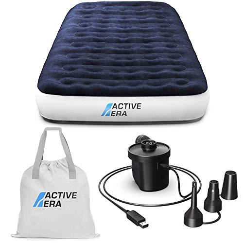 Active Era Luxus Camping Einzel Luftbett mit elektrischer Luftpumpe - Luftmatratze für 1 Person mit...