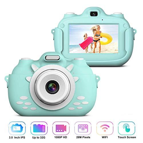 Kinder Videokamera Rekorder, Stoßfeste Wiederaufladbare Selfie Kamera mit 32GB SD Karte, 3 Inch HD...