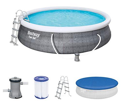 Bestway Komplettset Fast Pool 457x457x107 cm, Gartenpool selbstaufbauend mit aufblasbarem Luftring rund...