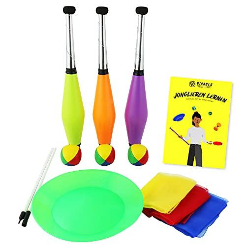 Jonglier-Set für Kinder und Erwachsene mit Jonglage Keulen, Jonglier-Bälle, Tücher, Teller inkl. Stab...