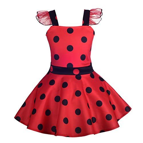Lito Angels Kinder Mädchen Ladybug Marienkäfer Kleid Polka Dots Halloween Kostüm Geburtstagskleid...