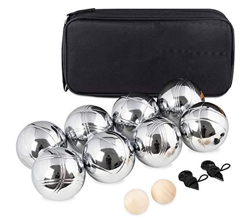 Boccia Kugeln,Boule Kugeln mit 8 Metall,2 Holz-Kugel, 2 Abstandsmesser &Luxuriöser Tragetasche,Petanque...