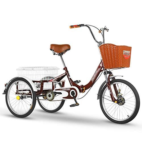 ZCXBHD Zusammenklappbar Adult Trike Dreirad Pedal mit Einkaufskorb Seniorenrad Lastenfahrrad für...