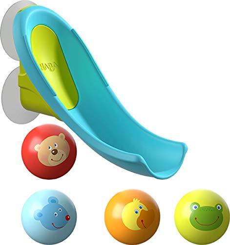 HABA 304870 - Badespaß Wasserrutsche, Kugelbahn-Badespielzeug mit kleiner Wasserrutsche und 4...