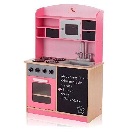 Baby Vivo Kinderküche Spielküche aus Holz Kinderspielküche Küche Holzküche Spielzeugküche mit Tafel...