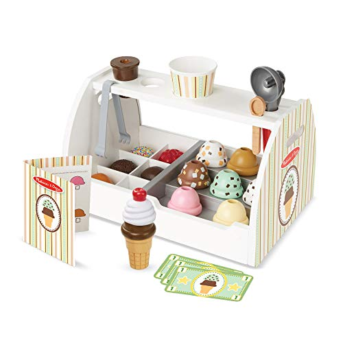 Melissa & Doug Wooden Scoop & Serve Ice Cream Counter (Play Food and Accessories, 28 Pieces, Realistic...