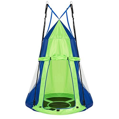 COSTWAY Ø 100cm Nestschaukel mit Zelt, Gartenschaukel bis 150kg belastbar, Kinderschaukel mit Tür und...