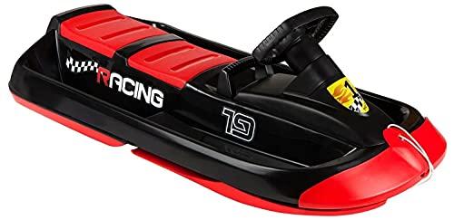 Zweisitzer Schneebob Bob Lenkbob Lenkschlitten 109cm SNO Racing schwarz rot