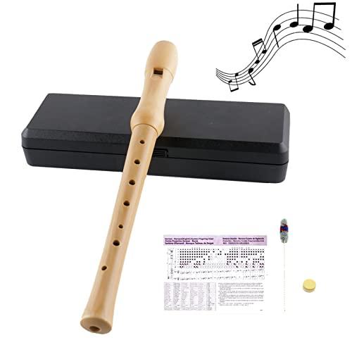 VLVEE Holzblockflöte, Flöte aus Holz für Anfänger mit Deutscher Grifftabelle, Gelenkfett, Lanyard und...