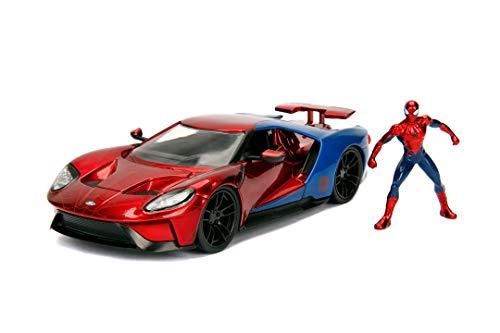Jada Toys 253225002 Marvel Spiderman 2017 Ford GT, 1:24 Modellauto inkl. Spiderman Figur, aus...