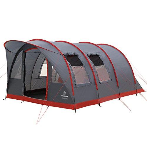 Familienzelt Justcamp Atlanta 5, Tunnelzelt für 5 Personen mit Vordach, eingenähter Boden - grau