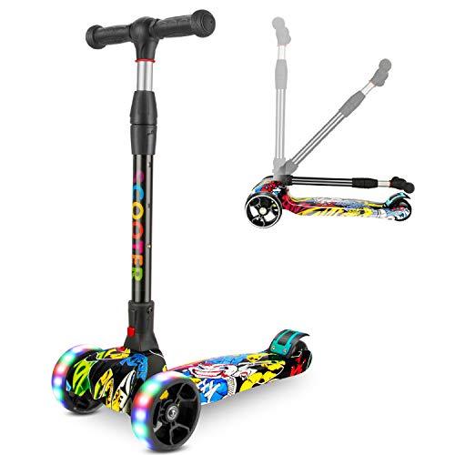RenFox Scooter, Roller Dreirad mit Verstellbarem LED Rollen Graffiti Scooter Roller Klappbarer...