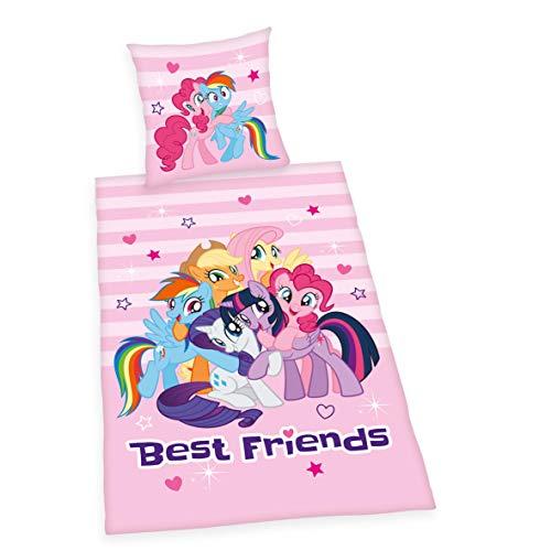 Bettwäsche My little Pony 'Best Friends', Kopfkissenbezug 80x80cm, Bettbezug 135x200cm, Renforce, mit...