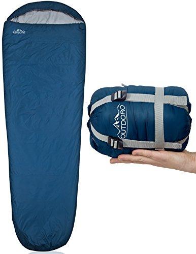 Outdoro ultraleichter Schlafsack 800g - kleines Packmaß - leicht, dünn und warm - Idealer...