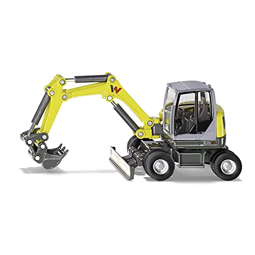 siku 3560, Wacker Neuson EW65 Mobilbagger, 1:50, Metall/Kunststoff, Gelb, Viele Funktionen, Beweglicher...
