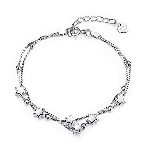 Elegant Perlen und Sterne Double Layered Armkettchen mit 925 Sterling Silber Armband Armkette Schmuck...