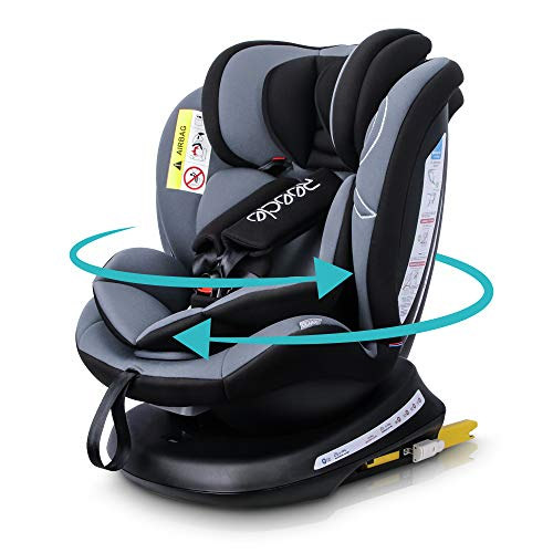 Reecle 360° Drehbar Kindersitz mit ISOFIX Gruppe 0+/1/2/3 Autositz 0-36 kg, rückwärts 0-18 kg