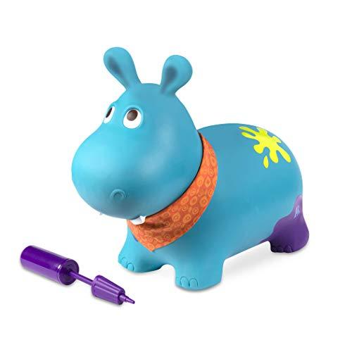 B. toys Hüpftier Hippo mit Handpumpe – 42cm Aufblasbarer Blauer Hüpfball in Tierform für Kinder ab...