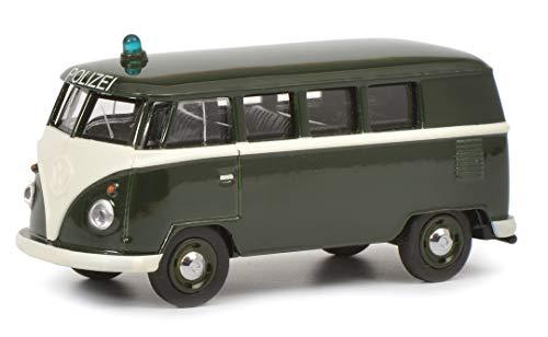 Schuco 452015400 VW T1 Bus Polizei 1:64, dunkelgrün, weiß, Maßstab