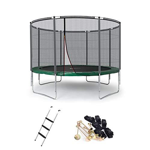 Ampel 24 Outdoor Trampolin 366 cm grün mit außenliegendem Netz, gepolsterten Stangen, Stabilitätsring,...