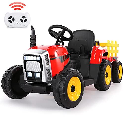 Elektro Traktor mit Anhänger, 12V 7Ah Batterie Elektrischer Traktor mit 2.4G Fernbedienung, 2 + 1...