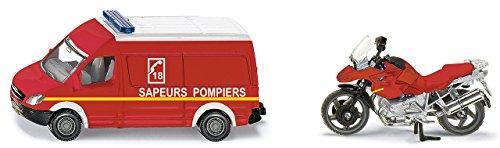siku 1656001, Feuerwehr-Set Frankreich, Metall/Kunststoff, Rot, Spielkombination, mit Anhängerkupplung
