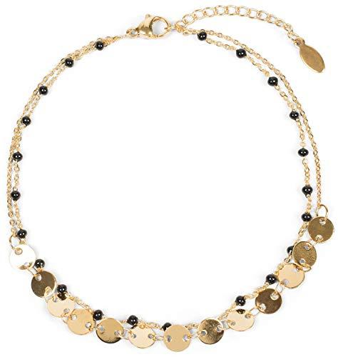 styleBREAKER Damen Layer Fußkettchen mit runden Plättchen Anhängern und Perlen, Ankerkette, Karabiner...