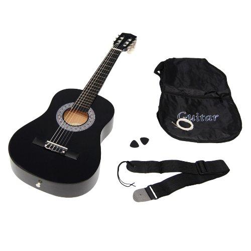 Kindergitarre Akustik Gitarre in der 1/2 Größe in Schwarz für ca. 6-9 Jahre mit Zubehörset:...