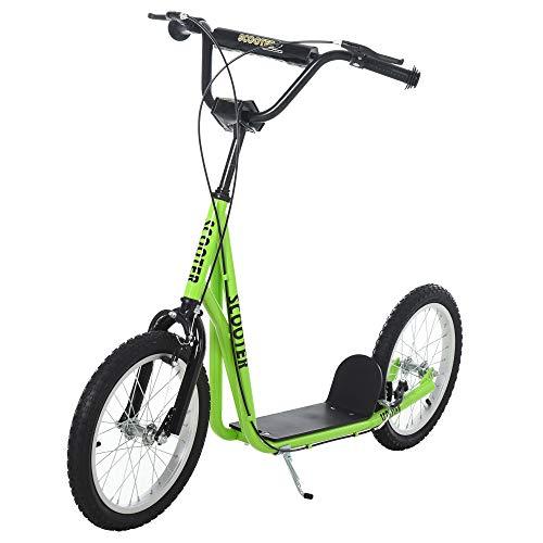 HOMCOM Kinderroller Scooter Tretroller Cityroller Kinder Roller Kickboard Luftreifen 16 Zoll Grün 139 x...