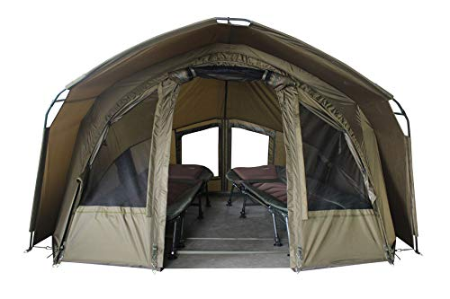 MK-Angelsport 2 Personen Karpfenzelt mit - 3,02x2,92x1,65m großes, wasserfestes Fort Knox 2.0 Angelzelt...