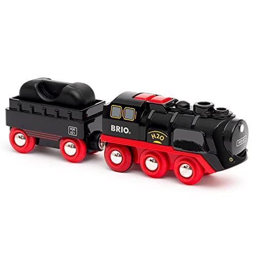 BRIO World 33884 Batterie-Dampflok mit Wassertank - Lokomotive mit echtem kühlen Dampf und...