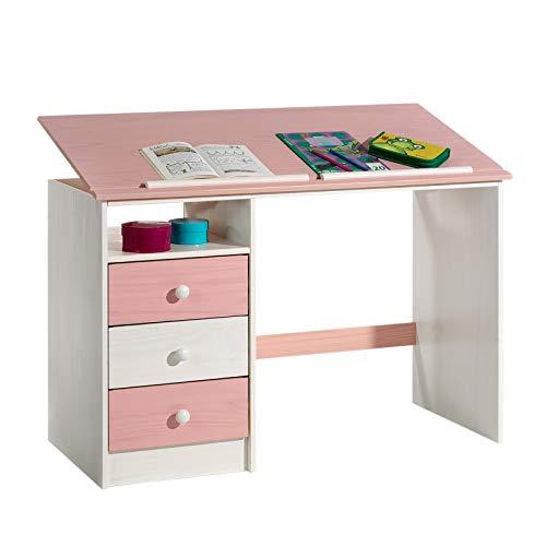 IDIMEX Kinderschreibtisch Schülerschreibtisch Kevin, aus Kiefer weiß rosa pink lackiert,...
