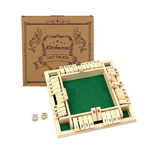 Kitchnexus Deluxe 4-Spieler Shut The Box Holz Tisch Spiel Klassisch Würfelspiel Board Spielzeug