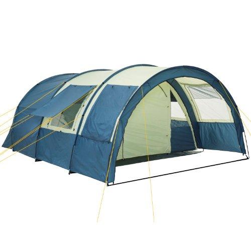 CampFeuer Tunnelzelt Multi Zelt für 4 Personen | riesiger Vorraum, 5000 mm Wassersäule | mit Bodenplane...