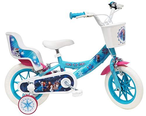 Disney Frozen Fahrrad 12 Zoll (30,5 cm) mit 2 Bremsen, Korb vorne & Puppenhalterung hinten + 2 abnehmbare...