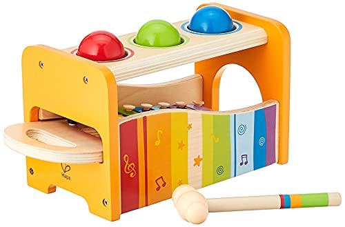 Hape Xylophon und Hammerspiel mit ausziehbarem Xylophon, langlebiges Holzspielzeug für Kleinkinder,...