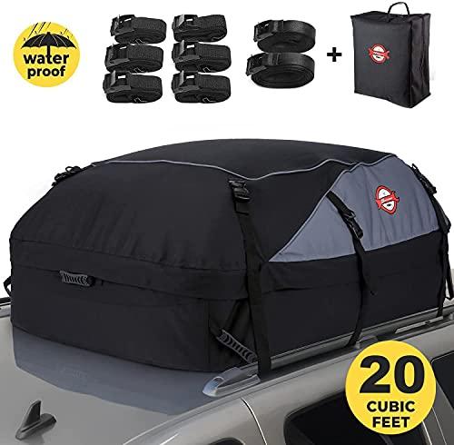 Sailnovo Auto Dachbox 20 Kubikfuß Faltbare Dachkoffer Aufbewahrungsbox Wasserdicht Dachtasche...
