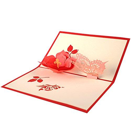 Grußkarte,BEETEST Exquisite handgemachte 3D Pop Up Grußkarten Dankeskarten mit Umschlag für Muttertag...