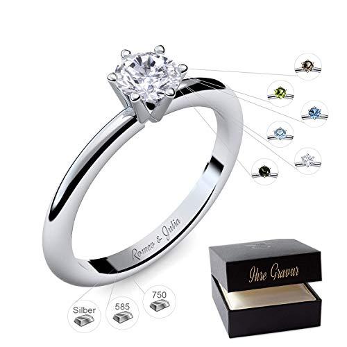Verlobungsring Silber 925 Weißgold 585 750 PERSONALISIERT + ETUI mit individueller GRAVUR Damen-Ring...