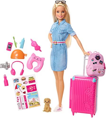 Barbie FWV25 - Barbie Travel Puppe (blond) mit Hündchen, aufklappbarem Koffer, Stickern und mehr als...