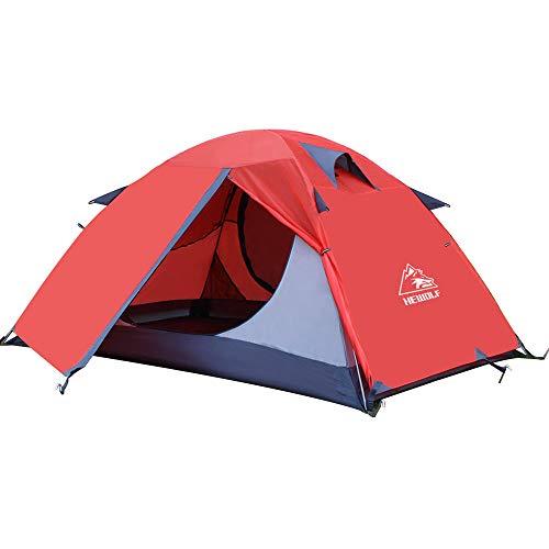 HEWOLF Zelt 2 Personen Rucksack-Zelt kuppelzelt für 2 Personen wasserdichte Doppellagige und Leichte...