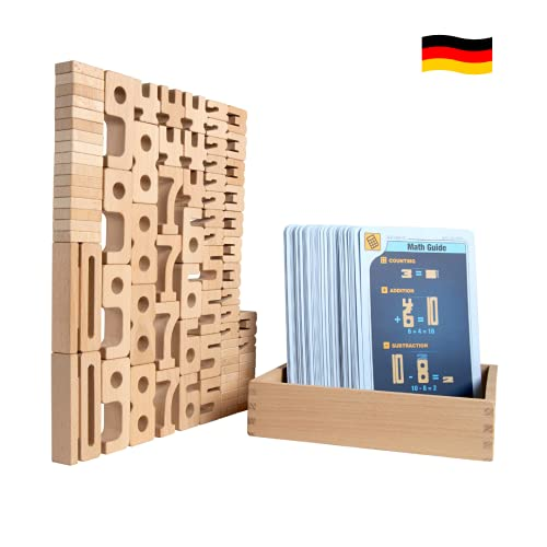 SumBlox Mini (Basic Set) - 80 Mini Holz Bausteine aus massiver Buche - Premium Zahlenbausteine Montessori...