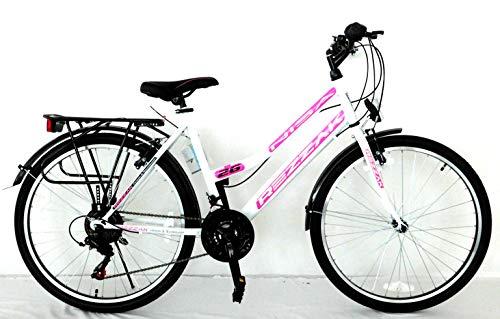 Rezzak 26 Zoll Mädchen Fahrrad Damen Fahrrad Citybike 21 Gang Shimano Drehschaltung RH ca 47cm Weiss...
