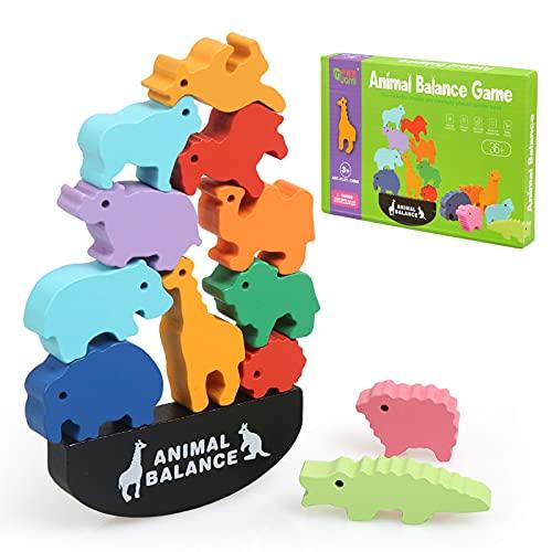 BelleStyle Montessori Spielzeug, Kinder Holzspielzeug Balancieren Tier Spielzeug, Pädagogisches Balance...